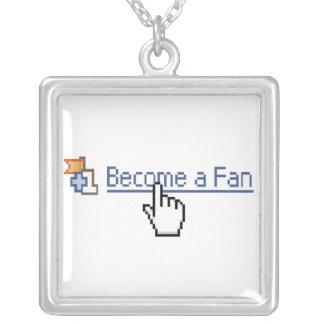 Become a Fan Square Pendant Necklace