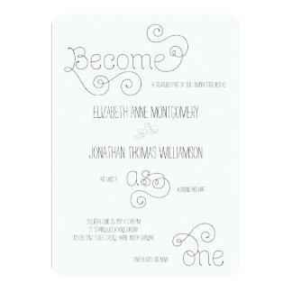 Become as One Curly Script Wedding Invitation