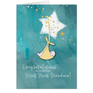 Becoming a Great Great Grandma Congratulations Card