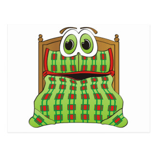 Bed Cartoon Green and Red Postcard