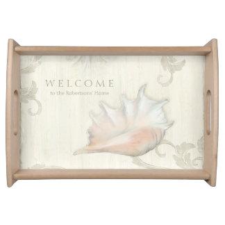 Bed n Breakfast Welcome Guests Beach Ocean Shells Serving Platter