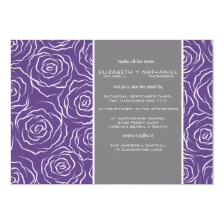 Bed of Roses Wedding Invitation - plum
