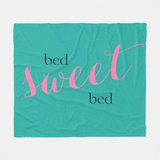bed sweet bed typography fleece blanket