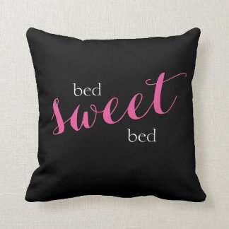 bed sweet bed typography throw pillow