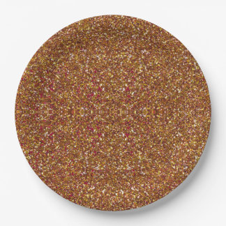 Bedazzled, Cranberry-Gold-PAPER PLATES 9 Inch Paper Plate
