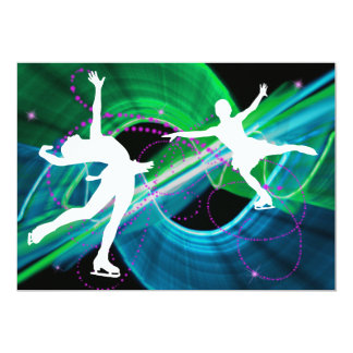 Bedazzled Figure Skaters Ice Skating Card