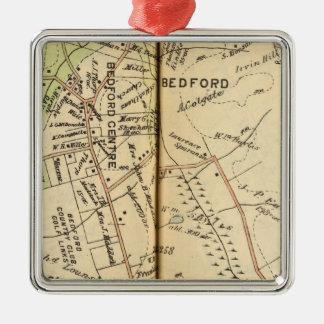 Bedford, New York 2 Silver-Colored Square Ornament