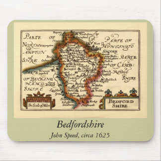 Bedfordshire County Map, England Mouse Pad