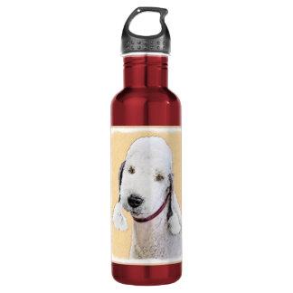 Bedlington Terrier 2 Painting - Original Dog Art 710 Ml Water Bottle