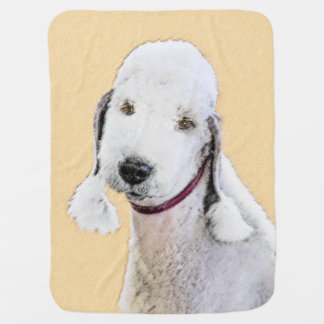 Bedlington Terrier 2 Painting - Original Dog Art Baby Blanket