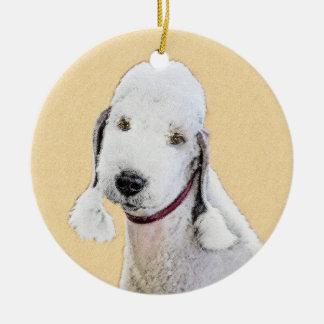 Bedlington Terrier 2 Painting - Original Dog Art Ceramic Ornament