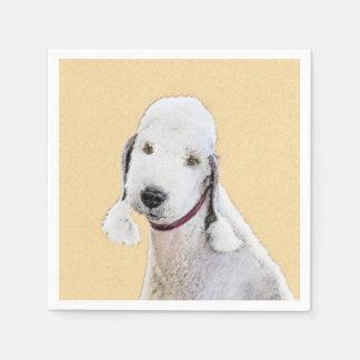 Bedlington Terrier 2 Painting - Original Dog Art Disposable Napkin