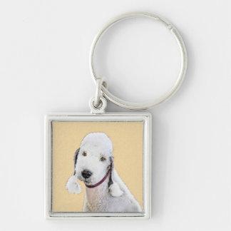 Bedlington Terrier 2 Painting - Original Dog Art Keychain
