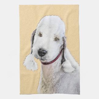 Bedlington Terrier 2 Painting - Original Dog Art Kitchen Towel