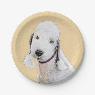 Bedlington Terrier 2 Painting - Original Dog Art Paper Plate