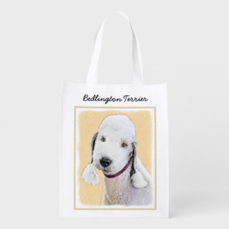 Bedlington Terrier 2 Painting - Original Dog Art Reusable Grocery Bag