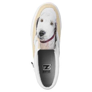 Bedlington Terrier 2 Painting - Original Dog Art Slip-On Sneakers