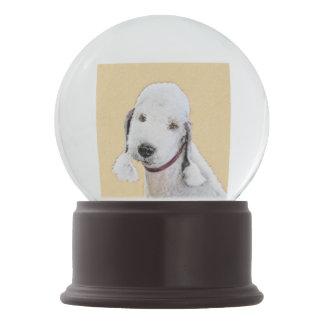 Bedlington Terrier 2 Painting - Original Dog Art Snow Globe