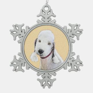 Bedlington Terrier 2 Snowflake Pewter Christmas Ornament