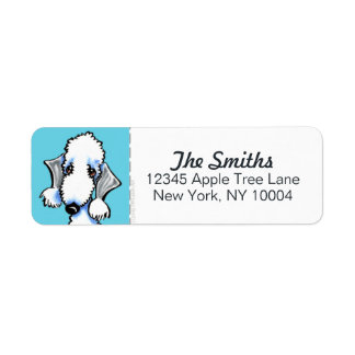 Bedlington Terrier Blue Block Return Address Label