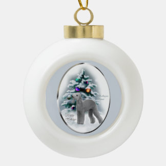 Bedlington Terrier Christmas Ceramic Ball Christmas Ornament