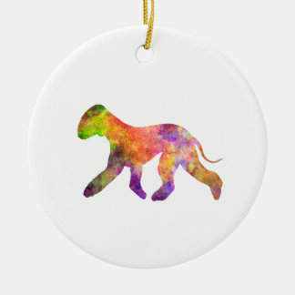 Bedlington Terrier in watercolor 2 Round Ceramic Ornament