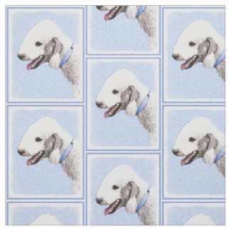 Bedlington Terrier Painting - Cute Original Art Fabric