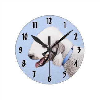 Bedlington Terrier Painting - Cute Original Art Round Clock