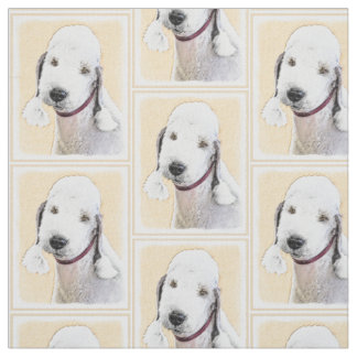 Bedlington Terrier Painting - Cute Original Dog Ar Fabric