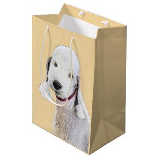Bedlington Terrier Painting - Cute Original Dog Ar Medium Gift Bag