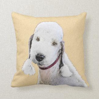 Bedlington Terrier Painting - Cute Original Dog Ar Throw Pillow