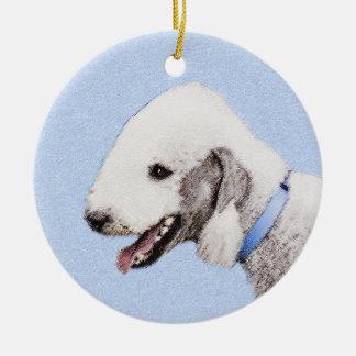 Bedlington Terrier Painting - Original Dog Art Ceramic Ornament