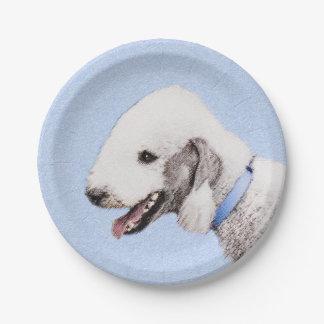 Bedlington Terrier Painting - Original Dog Art Paper Plate