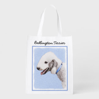 Bedlington Terrier Painting - Original Dog Art Reusable Grocery Bag