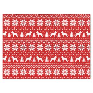 Bedlington Terrier Silhouettes Christmas Pattern Tissue Paper