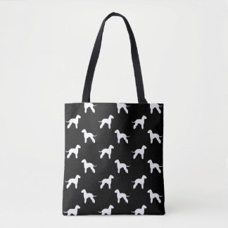 Bedlington Terrier Silhouettes Pattern Grey Tote Bag