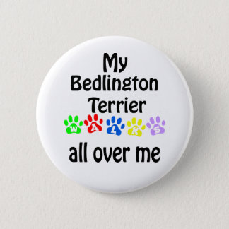 Bedlington Terrier Walks Design 2 Inch Round Button