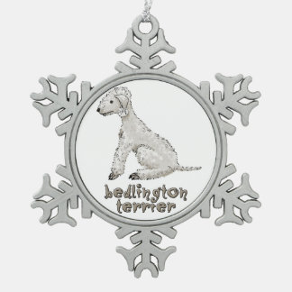 Bedlington Terriers Snowflake Pewter Christmas Ornament
