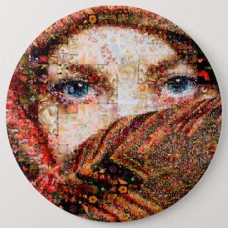 Bedouin woman-bedouin girl-eye collage-eyes-girl 6 inch round button