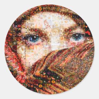 Bedouin woman-bedouin girl-eye collage-eyes-girl classic round sticker