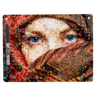 Bedouin woman-bedouin girl-eye collage-eyes-girl dry erase board with keychain holder