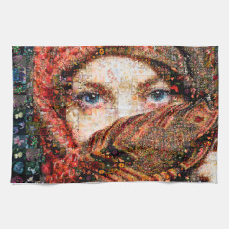 Bedouin woman-bedouin girl-eye collage-eyes-girl kitchen towel