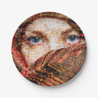 Bedouin woman-bedouin girl-eye collage-eyes-girl paper plate