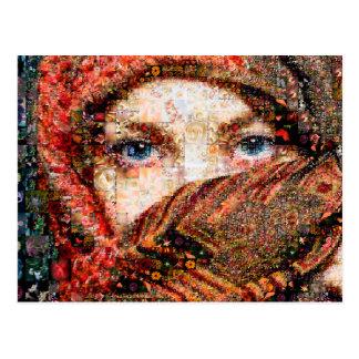 Bedouin woman-bedouin girl-eye collage-eyes-girl postcard
