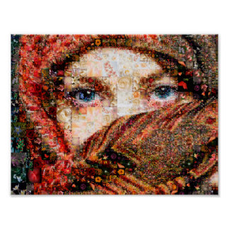 Bedouin woman-bedouin girl-eye collage-eyes-girl poster