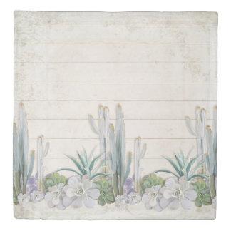 Bedroom Decor Shiplap Wood Desert Cactus Succulent Duvet Cover