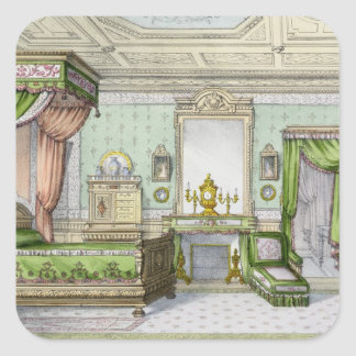 Bedroom in the Renaissance style (colour litho) Square Sticker