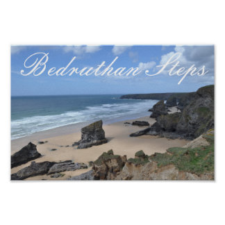 Bedruthan Steps Vista with Title Poster