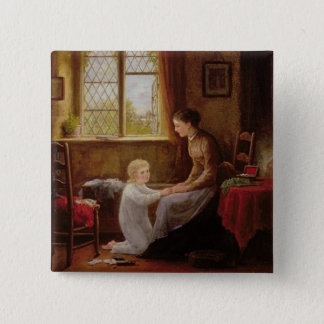Bedtime, 1890 (oil on panel) 2 inch square button