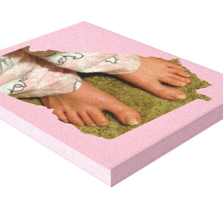 Bedtime Feet GA State Outline Stretched Canvas